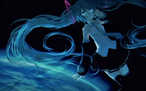 Picture girl, space, earth, planet, anime, art, vocaloid, hatsune miku, rin200028, 528