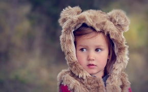 Picture costume, girl, brown-eyed, little bear