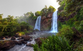 Picture the sky, trees, rock, river, waterfall, stream