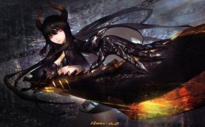 Picture girl, weapons, sword, anime, art, horns, chain, black rock shooter, insane black rock shooter, black …