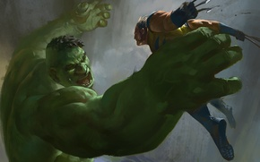 Picture Hulk, Wolverine, X-Men, art, marvel comics