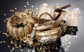 Picture decoration, gold, ring, tape, bracelets, box