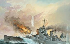 "Wallpaper battleship ""Bismarck, ""King George V"", German, art, the Royal Navy, WW2, 27 may 1941, ship ..."