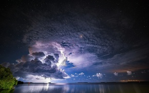 Wallpaper clouds, lightning, stars, the storm, the evening, the sky, element, clouds