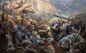 Wallpaper castle, war, magic, elves, battle, Warhammer, chaos, warriors, storm, orcs, Empire, dwarves, mages, siege, griffins, ...