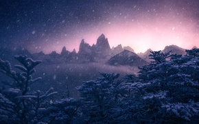 Picture winter, snow, trees, mountains, Argentina, Argentina, Andes, Patagonia, Patagonia, Andes, Monte Fitz Roy, mount Fitzroy