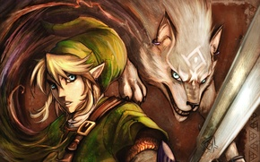Picture magic, hair, elf, sword, strap, ears, earring, The Legend of Zelda, Link, white wolf