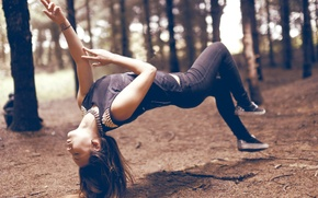 Picture forest, girl, trees, brown hair, levitation