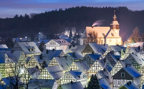 Picture winter, roof, landscape, lights, home, the evening, Germany, North Rhine-Westphalia, Freudenberg