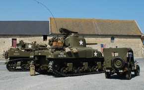 """Picture war, tank, military equipment, average, 1944, Jeep, M4 Sherman, world, Second, times, """"Willis-MV"""", Willys MB, …"""