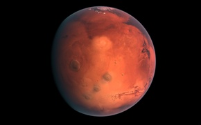 Picture planet, Mars, red, black background