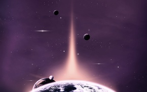 Picture space, lights, planet, art, space, stars