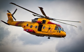 Picture flight, yellow, helicopter, Canada, lifeguard