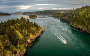 Picture Islands, island, boat, Bay, forest, Washington, Washington, Puget Sound, Puget Sound, Whidbey island, Whidbey Island