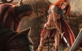 Wallpaper mesh, art, red, Diadema, pattern, girl, Jon Hrubesch, sword, tattoo, horns, monster