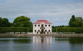 Picture summer, landscape, nature, pond, Park, the building, Saint Petersburg, house, architecture, cottage, Peterhof