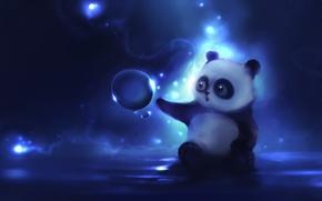 Wallpaper figure, author, apofiss, curiosity, Panda, ball, bear