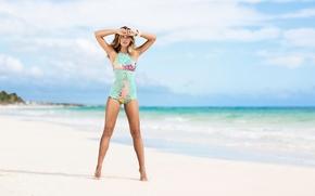 Wallpaper sea, water, girl, Sandra Kubicka, model, clouds, sand