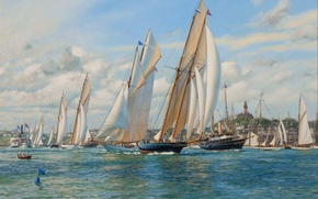 Picture sea, sailboats, Anthony Blake