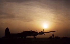 Picture the sky, sunset, bomber, the airfield, pilots, B-17, flying fortress, Flying Fortress