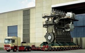 Picture big, power, truck, ship, Diesel, Engine