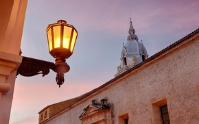 Picture light, the building, the evening, lighting, lantern, Colombia, Colombia, Cartagena Cathedral, The Cathedral of Santa …