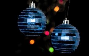 Wallpaper holiday, Christmas, new year, bokeh, new year, black, balls, christmas