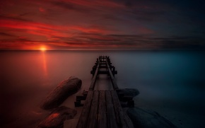 Picture sea, the sky, landscape, Marina, the evening