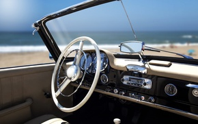 Wallpaper beach, retro, the ocean, stay, panel, blur, devices, the wheel, relax, convertible, car, salon, bokeh, ...