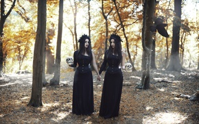 Picture forest, girls, skull