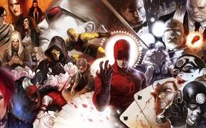 Picture marvel, daredevil, bullseye, kingpin, iron fist, black tarantula, luke cage