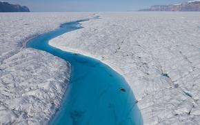 Wallpaper Blue river, the Petermann glacier, Greenland