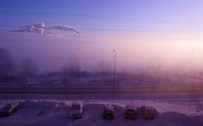 Picture winter, smoke, Fog, morning