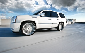 Picture roof, white, speed, blur, white, wheels, Cadillac, cadillac, speed, escalade, the Escalade