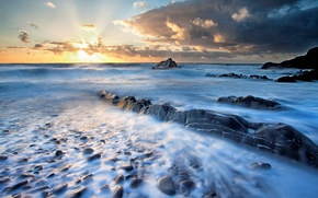 Picture sea, the sky, water, the sun, clouds, landscape, sunset, nature, river, sunrise, stones, background, widescreen, ...