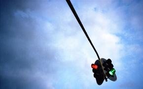 Picture sky, blue, traffic light