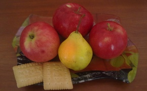 Picture summer, apples, cookies, Fruit, pear, vitamins