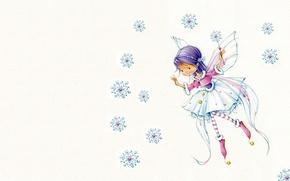 Picture holiday, tale, art, girl, New year, snowflake, magic wand, children's, suit, Marina Fedotova, fairy