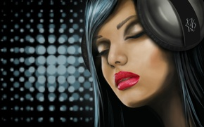 Picture girl, music, Wallpaper, drawing