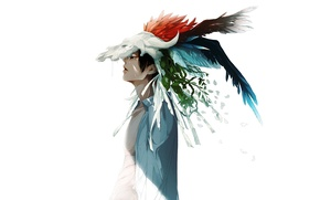 Picture leaves, branches, skull, feathers, white background, Guy, shirt