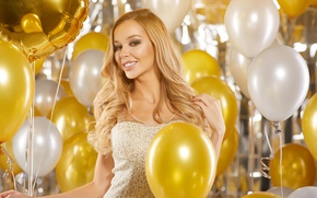 Picture golden, sexy, Blonde, balloons