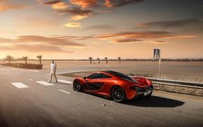 Picture McLaren, Orange, Road, Supercar, Man, Rear, Crosswalk
