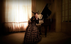 Picture girl, room, piano, figure