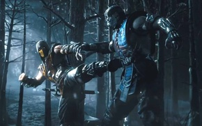 Picture forest, night, sword, ninja, Scorpion, ninja, Sub-Zero, Mortal Kombat X