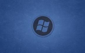 Picture blue, round, logo, windows, logo, Windows, dark background