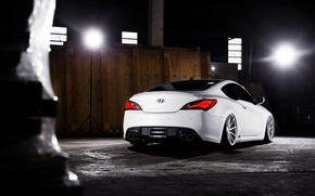 Picture white, wheels, Hyundai, rear, vossen, Genesis, 3.8
