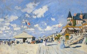 Picture landscape, picture, Claude Monet, Boardwalk Nastin on the Beach in Trouville