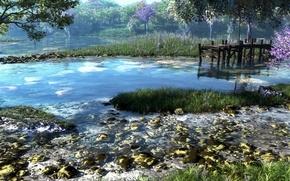 Wallpaper forest, grass, trees, nature, river, stones, pier, art, klontak