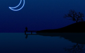 Picture water, night, the moon, minimalism, vector