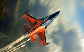 Picture clouds, the plane, speed, fighter, flight, F-16